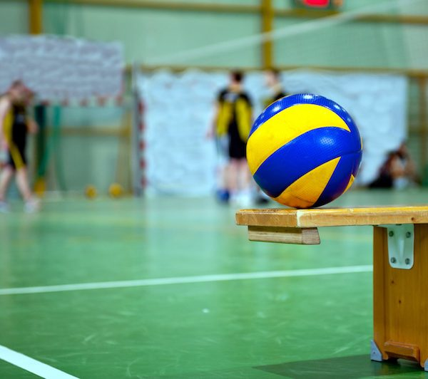 volleyball on bench