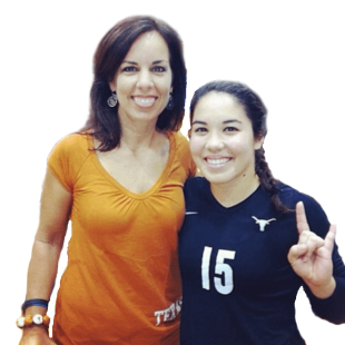 laurie with sydney at texas volleyball game