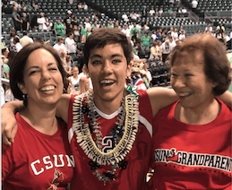 kelsey laurie and grandma at csun hawaii volleyball game