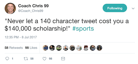 social media for student athletes tweet