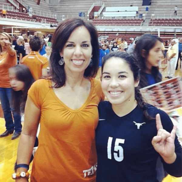 laurie with daughter sydney after her texas volleyball match